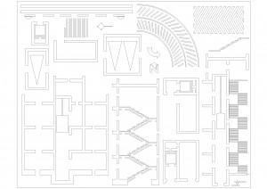 فایل شابلون برش پله و آسانسور آزمون طراحی معماری نظام مهندسی